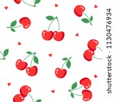 seamless pattern with cherries... | Shutterstock .eps vector #1130476934