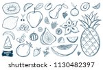 fruits doodles set. tropical... | Shutterstock .eps vector #1130482397