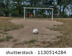 old worn shabby and torn soccer ... | Shutterstock . vector #1130514284