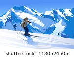 skier mountains snow ski mask... | Shutterstock .eps vector #1130524505