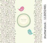 vintage doodle bird for frame... | Shutterstock .eps vector #113052481