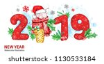 2019 happy new year banner....   Shutterstock . vector #1130533184