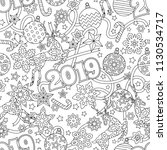 new year 2019 hand drawn... | Shutterstock .eps vector #1130534717