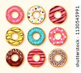 donuts set. pink donut  ...   Shutterstock .eps vector #1130545991
