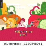 vegetarian food diet  flat... | Shutterstock .eps vector #1130548061