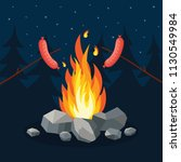 bonfire with grill sausage ... | Shutterstock .eps vector #1130549984