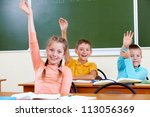 portrait of cute schoolgirl and ... | Shutterstock . vector #113056369
