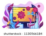 people configure the... | Shutterstock .eps vector #1130566184