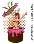 bunny girl hiding at the... | Shutterstock .eps vector #1130571287