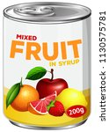 a tin of mixed fruit in syrup... | Shutterstock .eps vector #1130575781