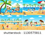 a set of children playing at... | Shutterstock .eps vector #1130575811