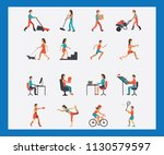 crowd of tiny people walking... | Shutterstock .eps vector #1130579597