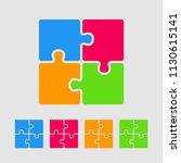 four pieces puzzle squares...   Shutterstock .eps vector #1130615141