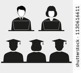 teachers teach a lesson with... | Shutterstock .eps vector #1130616611