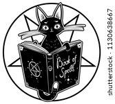 black witch's cat reading the... | Shutterstock .eps vector #1130638667