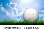 3D football in green grass on blue sky - stock photo