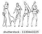 sketch. fashion girls on a... | Shutterstock .eps vector #1130663225