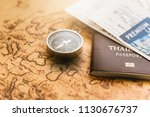 passport  compass and boarding... | Shutterstock . vector #1130676737
