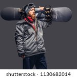 brutal redhead snowboarder with ... | Shutterstock . vector #1130682014