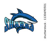 blue sharks logo with text... | Shutterstock .eps vector #1130690501