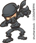 dabbing cartoon ninja. vector... | Shutterstock .eps vector #1130698994