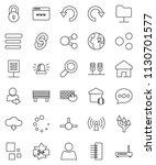 thin line vector icon set  ... | Shutterstock .eps vector #1130701577