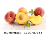 fresh peach and leaf | Shutterstock . vector #1130707955