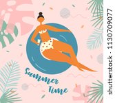 summer time lettering. pretty... | Shutterstock .eps vector #1130709077