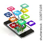 a 3d smart phone sharing a web... | Shutterstock . vector #113071105