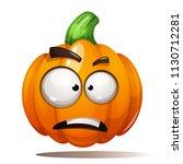 pumpkin illustration. horror ... | Shutterstock .eps vector #1130712281