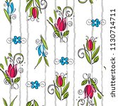roses pattern and leaves with... | Shutterstock .eps vector #1130714711