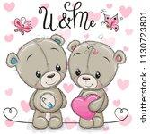 cute teddy boy and teddy girl... | Shutterstock .eps vector #1130723801