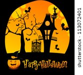 vector halloween illustration... | Shutterstock .eps vector #113072401