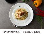 pasta carbonara and poach egg...   Shutterstock . vector #1130731301