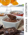 close up of the dark chocolate... | Shutterstock . vector #1130733074