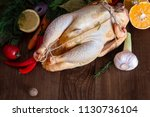 one large raw prepared homemade ... | Shutterstock . vector #1130736104