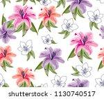 flowers pattern  lily flowers... | Shutterstock .eps vector #1130740517