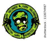 Happy Halloween Rubber Stamp...