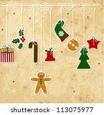 vintage christmas card   Shutterstock .eps vector #113075977