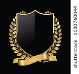 gold and black shield with gold ... | Shutterstock .eps vector #1130760044