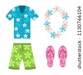 hawaiian shirt  beach summer... | Shutterstock .eps vector #1130766104