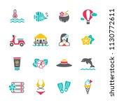 summer beach objects set | Shutterstock .eps vector #1130772611