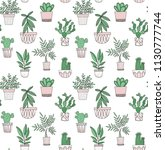 potted plants vector pattern in ...   Shutterstock .eps vector #1130777744