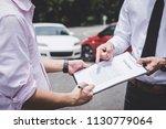 insurance agent examine damaged ...   Shutterstock . vector #1130779064