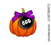 orange halloween pumpkin with...   Shutterstock .eps vector #1130780471