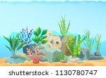 seascape rocks and plants....   Shutterstock .eps vector #1130780747