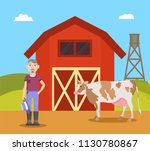 farm and farmer with big cow....   Shutterstock .eps vector #1130780867