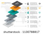 infographic label design with 6 ... | Shutterstock .eps vector #1130788817