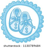 blue baby shoes round label  | Shutterstock .eps vector #1130789684