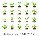 green grass flat icons set.... | Shutterstock .eps vector #1130790191